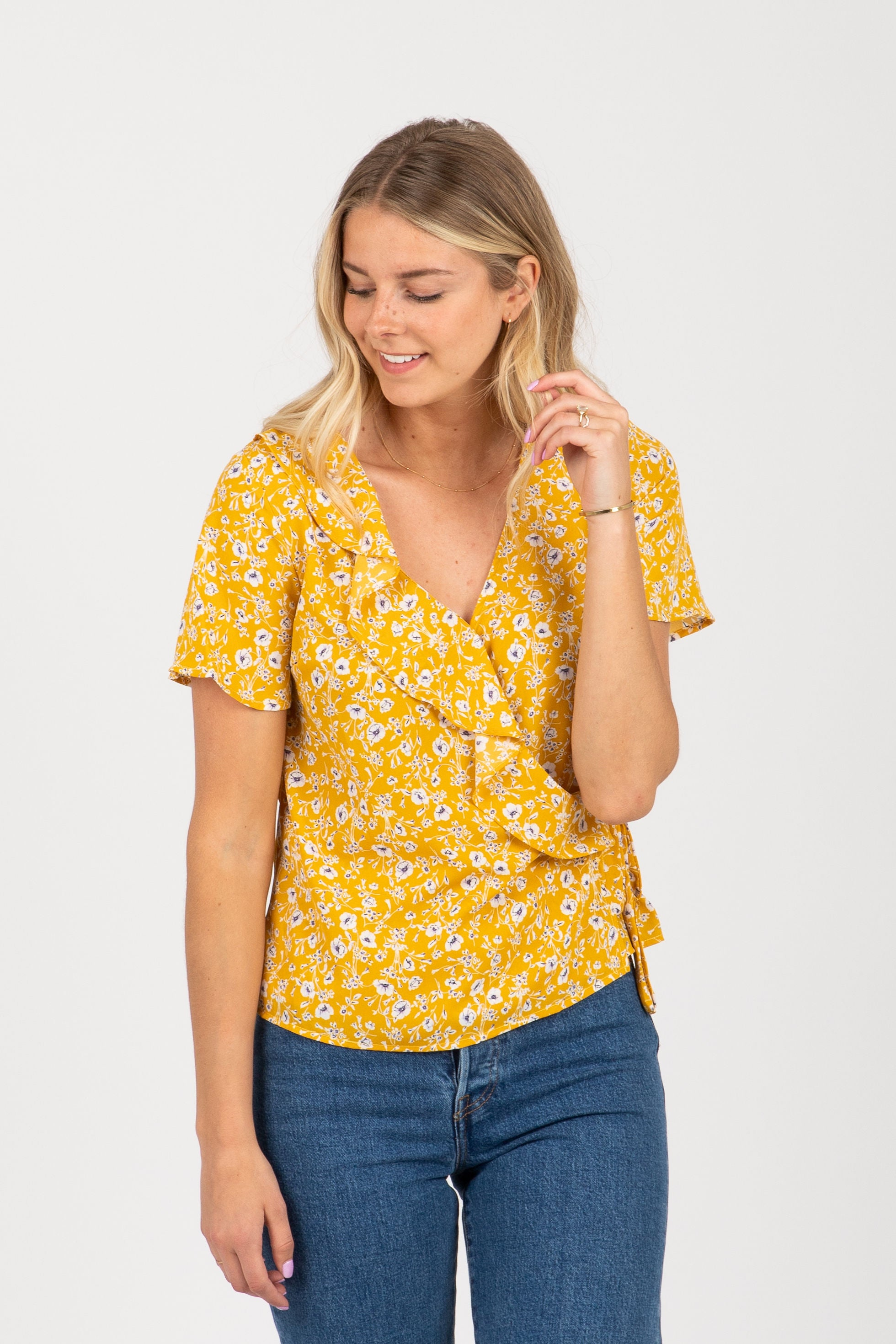 The Soba Floral Wrap Blouse in Mustard