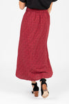 The Fran Patterned Midi Skirt in Red, studio shoot; back view