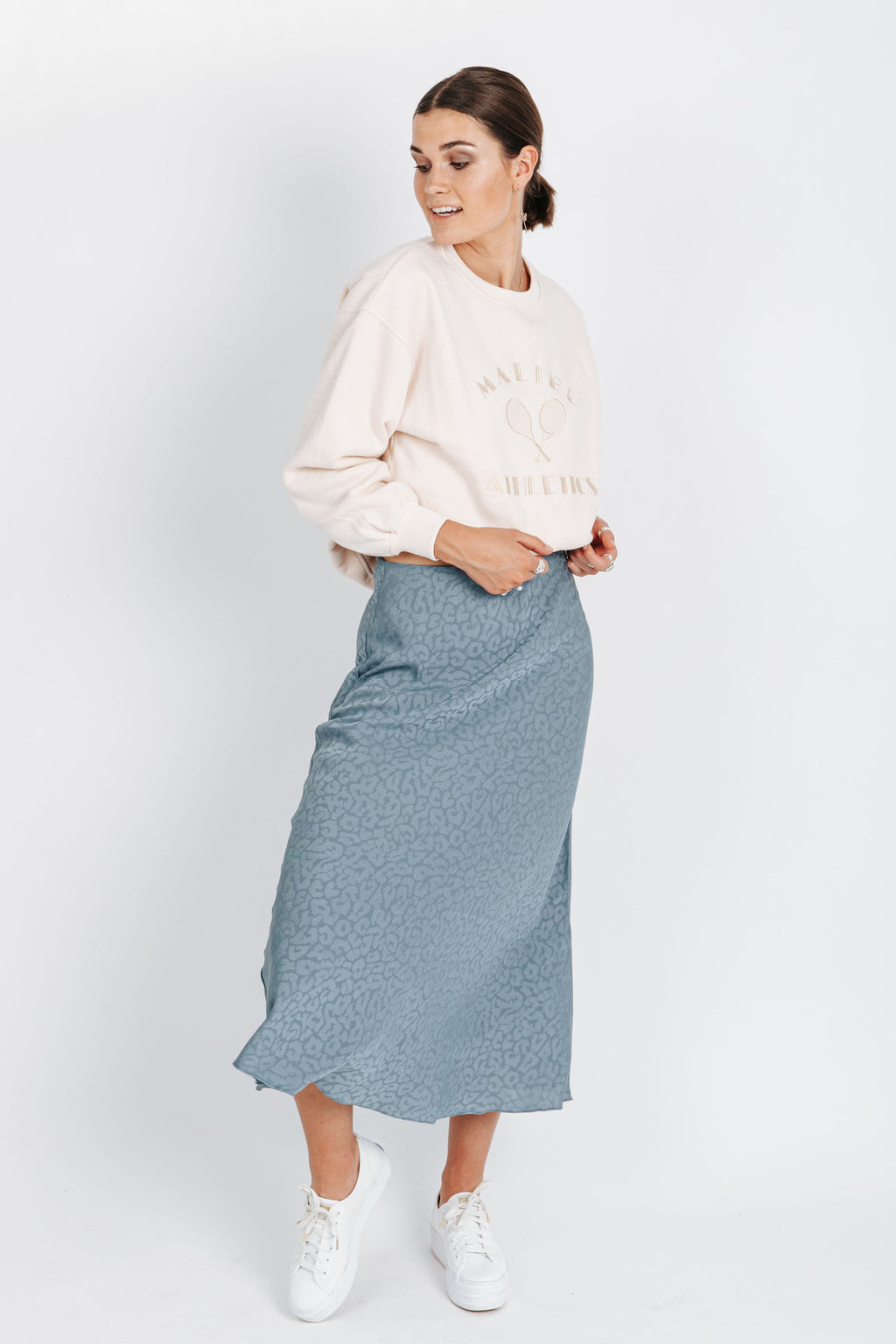 The Alistair Leopard Print Skirt in Blue, studio shoot; front view