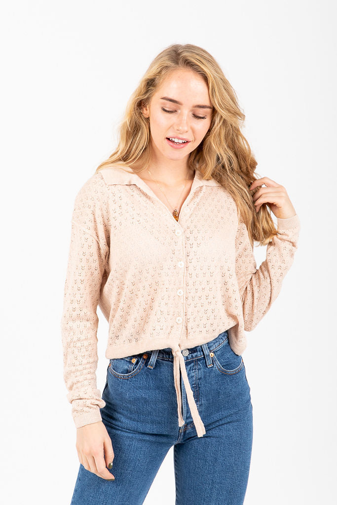 Free People: Betty Tie Front Sweater in Neutral