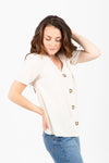The Rupert Button Linen Blouse in Natural