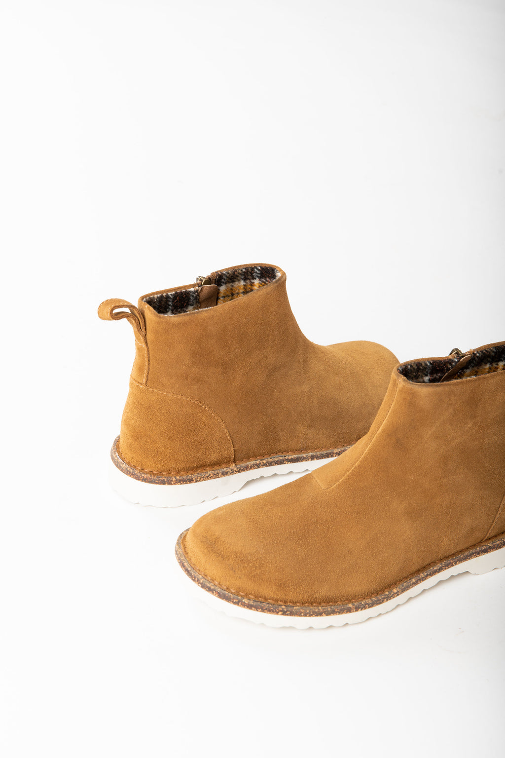 Birkenstock: Melrose Boot Suede Leather in Tea Hydrophobic, studio shoot; side view