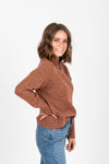The Lean Speckled Mock Neck Sweater in Camel, studio shoot; side view