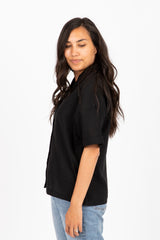 The Frosting Linen Button Up Blouse in Black