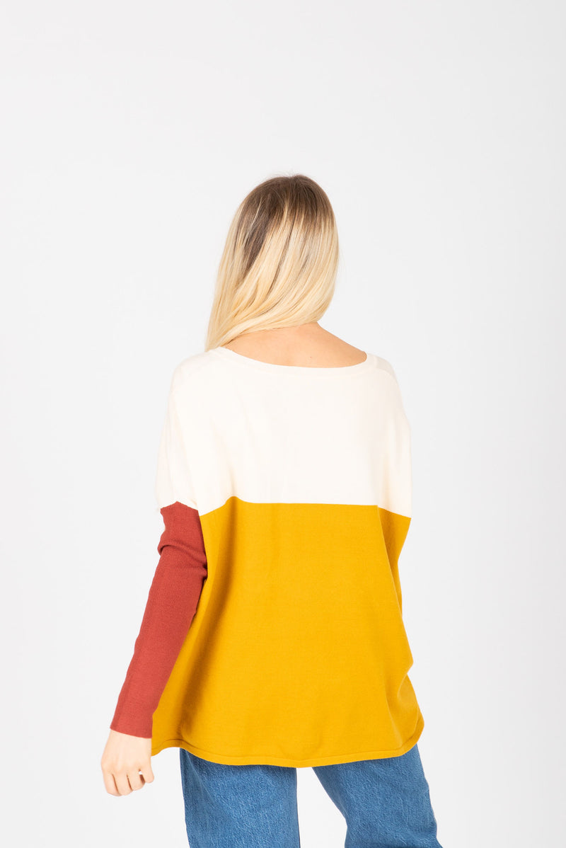 The Bobbi Casual Pocket Sweater in Mustard, studio shoot; back view