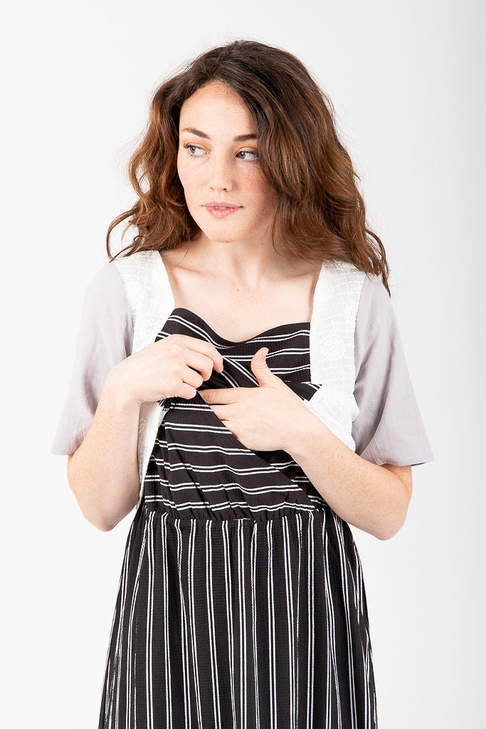 Piper & Scoot: The Camryn Mixed Bib Dress in Black Stripe