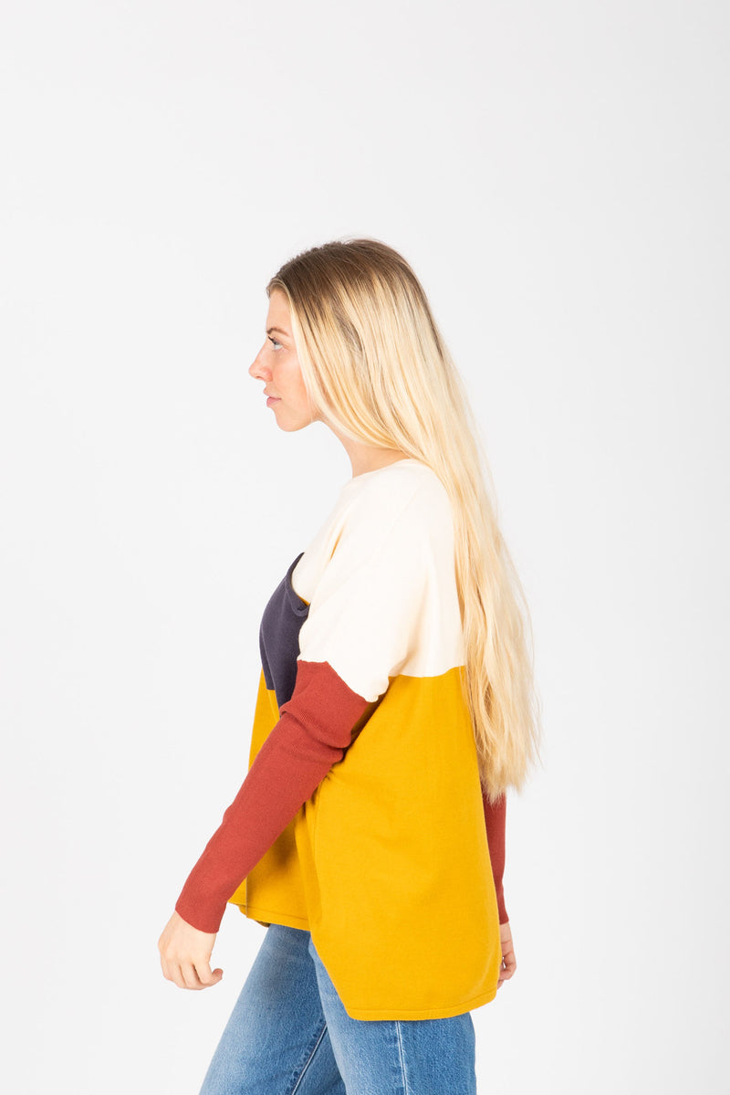 The Bobbi Casual Pocket Sweater in Mustard, studio shoot; side view