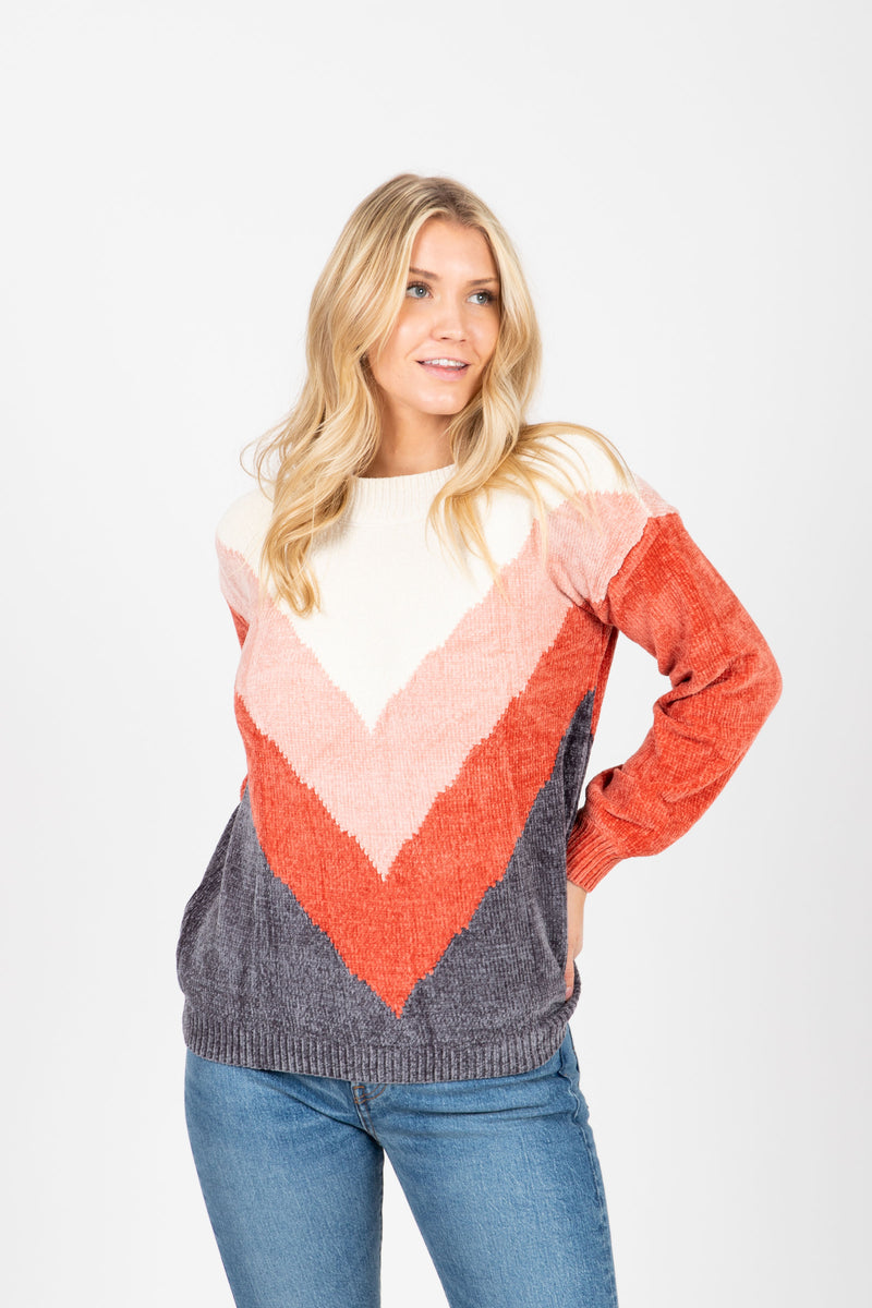 The Fawcett V Striped Sweater in Rust, studio shoot; front view