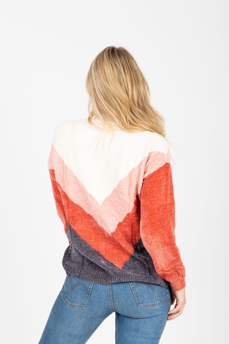 The Fawcett V Striped Sweater in Rust, studio shoot; back view