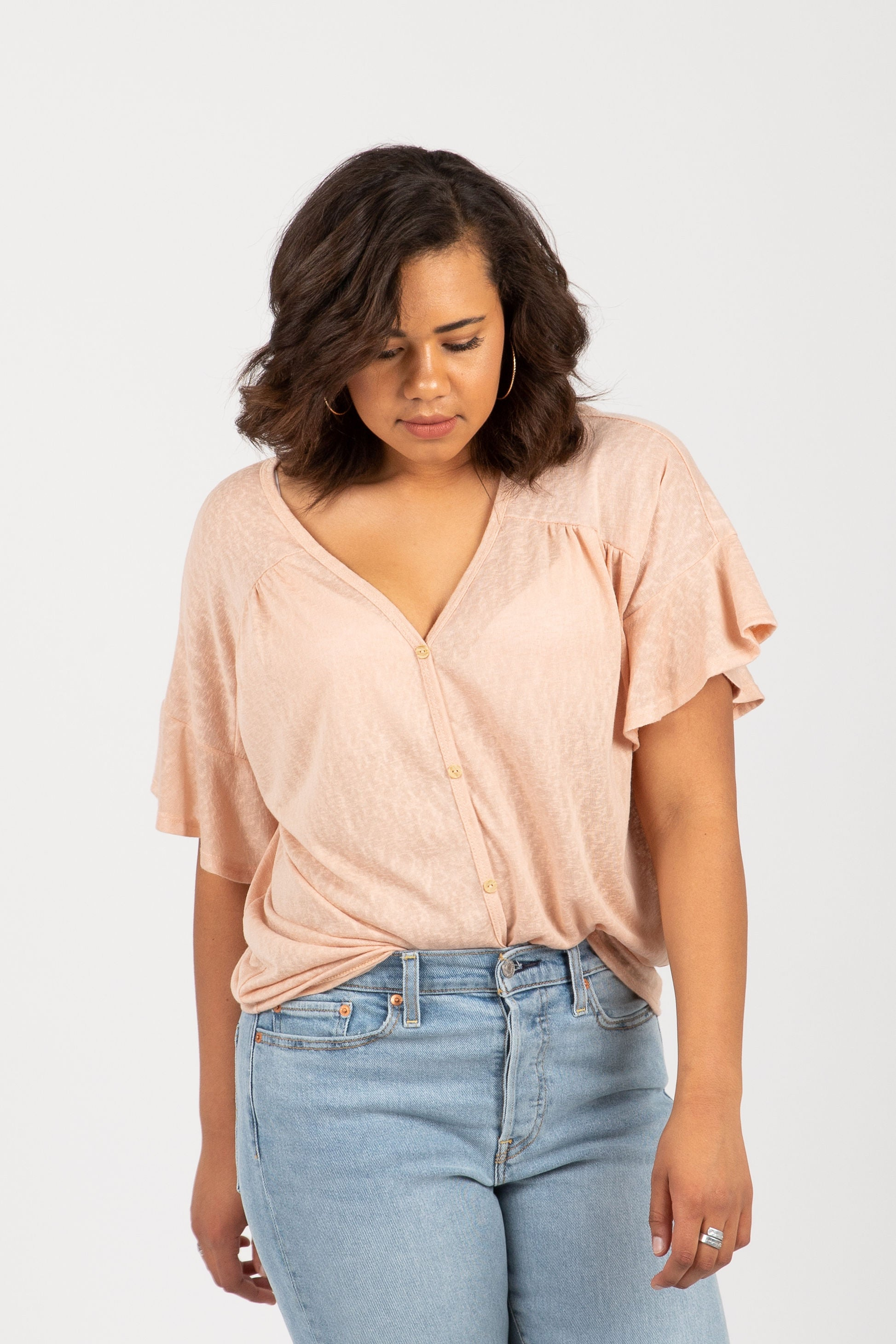 The Scene Flutter Tie Front Blouse in Blush