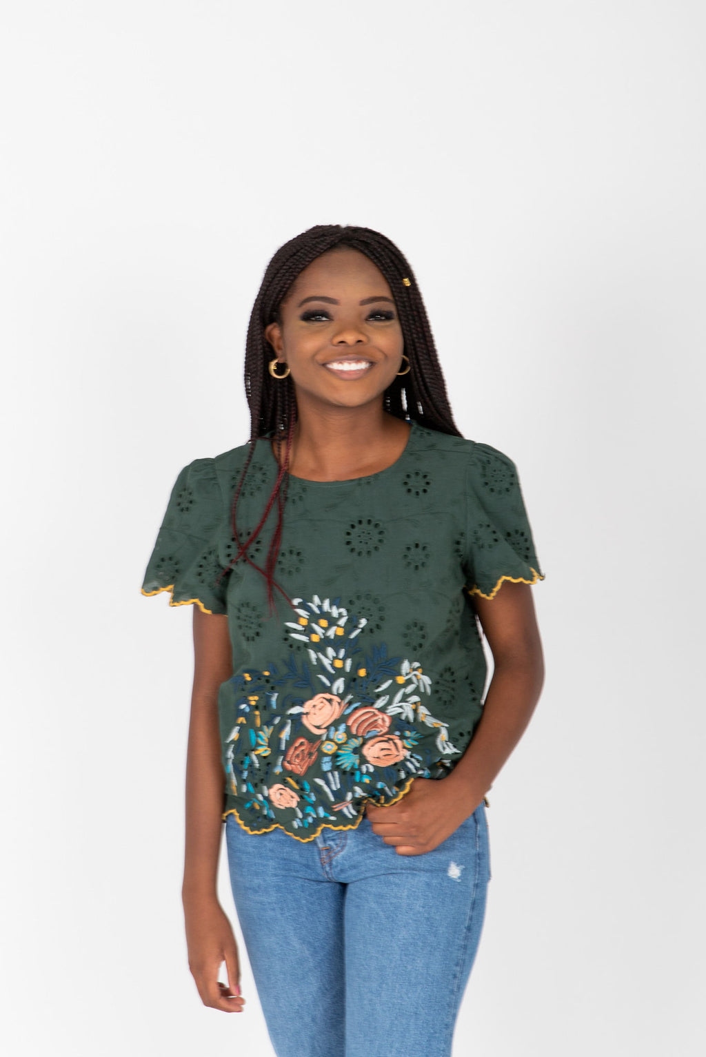 The Alessia Embroidered Scallop Blouse in Hunter Green, studio shoot; front view