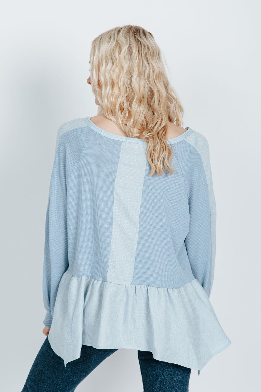 The Clive Peplum Blouse in Light Blue
