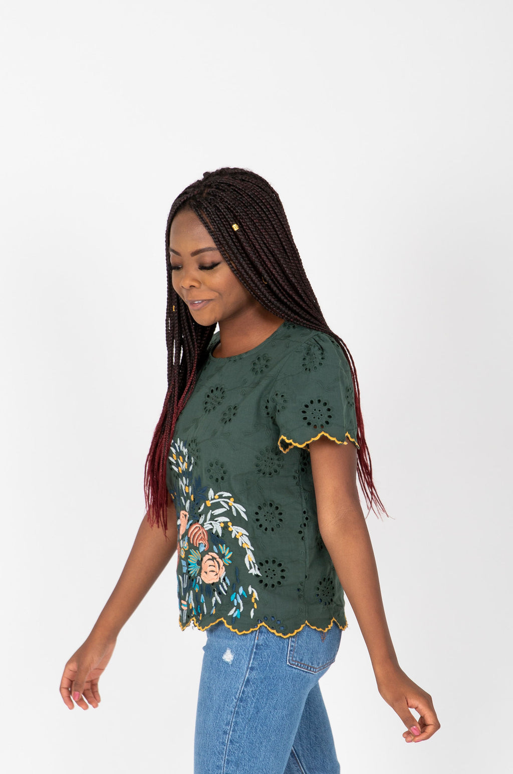 The Alessia Embroidered Scallop Blouse in Hunter Green, studio shoot; side view