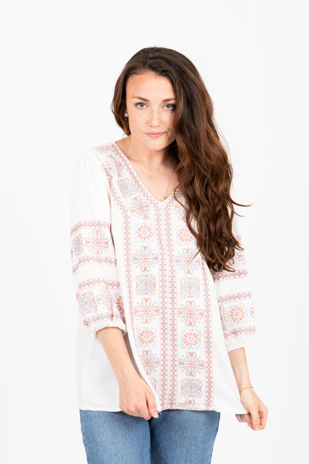 The Decisions Embroidered Blouse in Ivory
