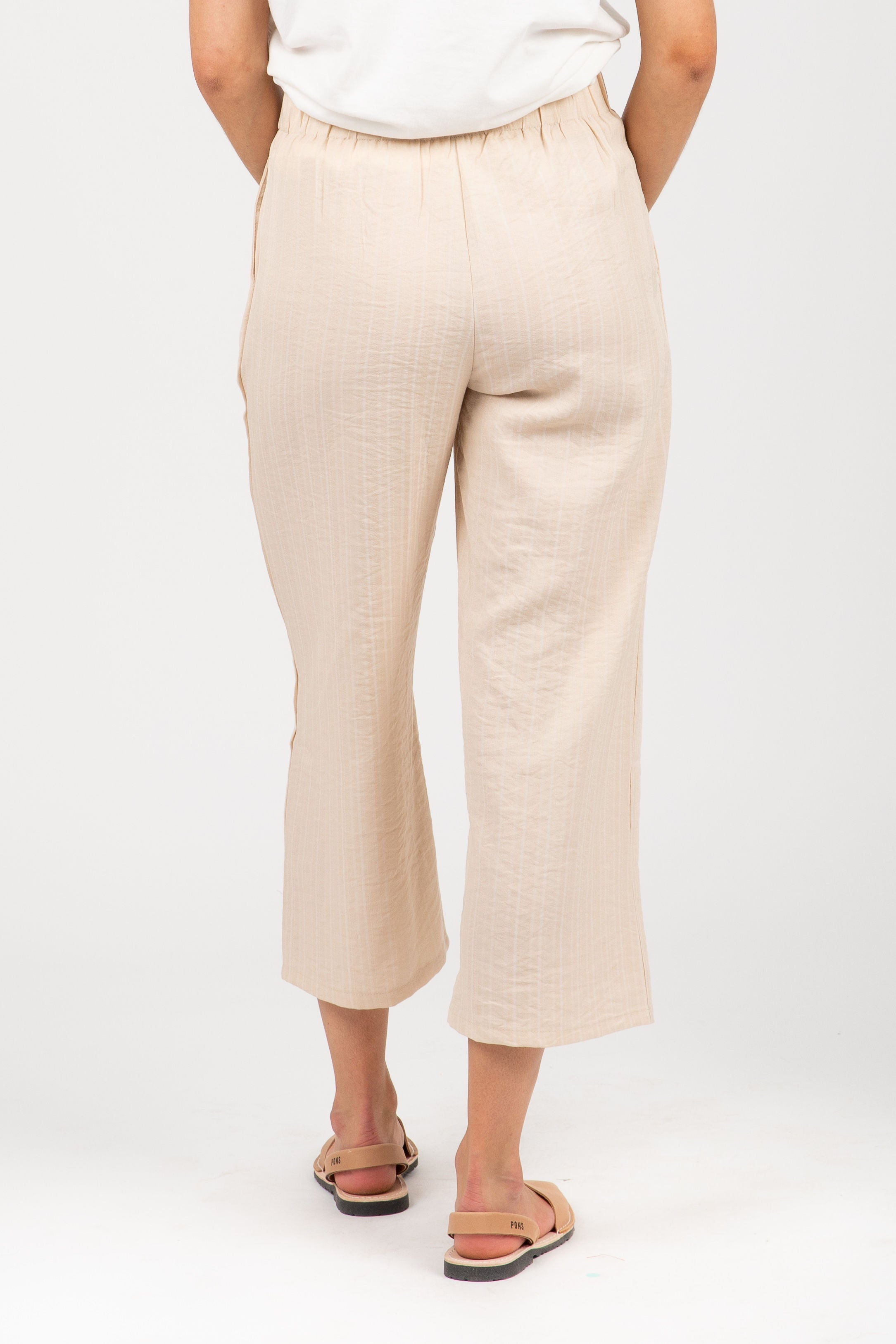 The Folly Button Wide Leg Trouser in Sand