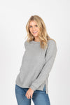 Piper & Scoot: The Crew Long Sleeve in Heather Grey, studio shoot; front view