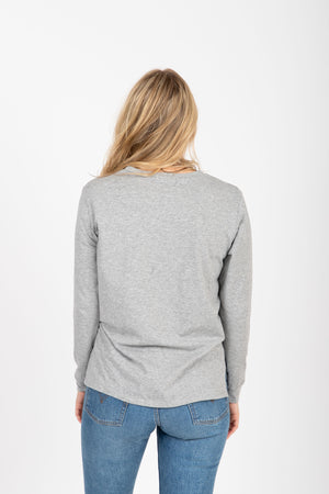 Piper & Scoot: The Crew Long Sleeve in Heather Grey, studio shoot; back view