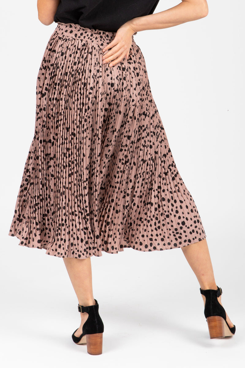 The Naldi Animal Print Smocked Skirt in Blush, studio shoot; front view