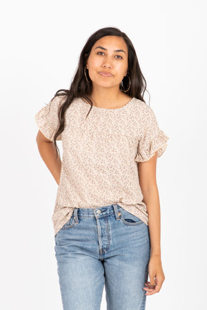 The Butternut Floral Ruffle Blouse in Taupe