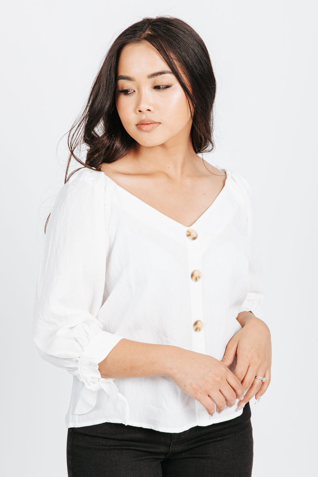 The Kingston Button Up Blouse in White, studio shoot; front view