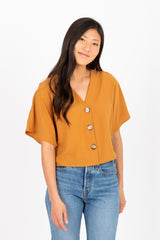 The Bubble Cropped Button Blouse in Ochre