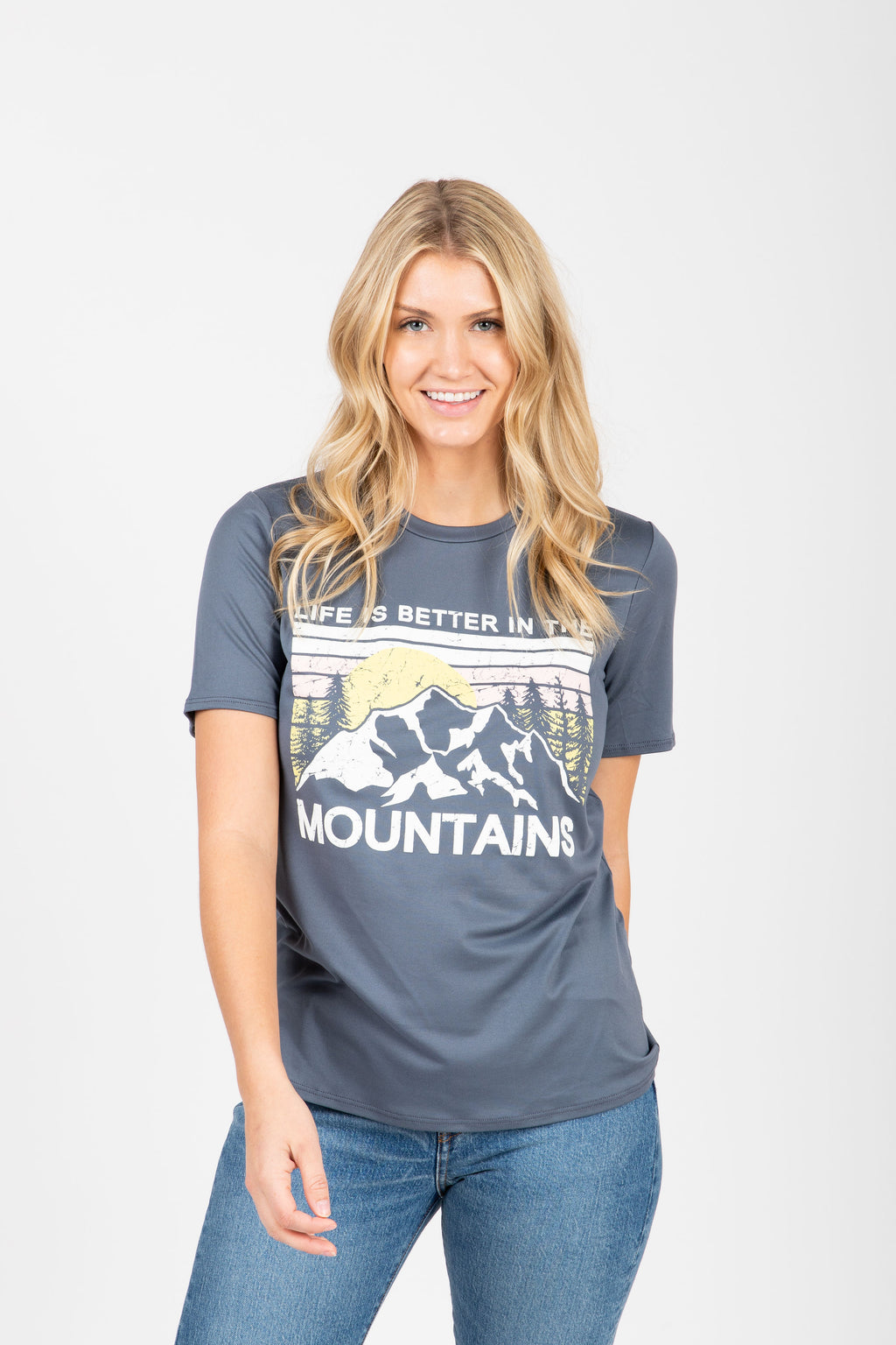 The Mountain Graphic Tee in Slate, studio shoot; front view