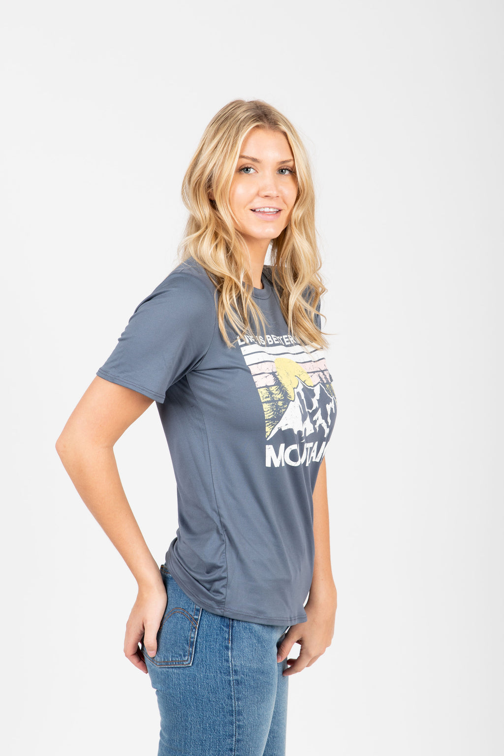 The Mountain Graphic Tee in Slate, studio shoot; side view