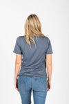 The Mountain Graphic Tee in Slate, studio shoot; back view