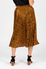 The Naldi Animal Print Smocked Skirt in Camel