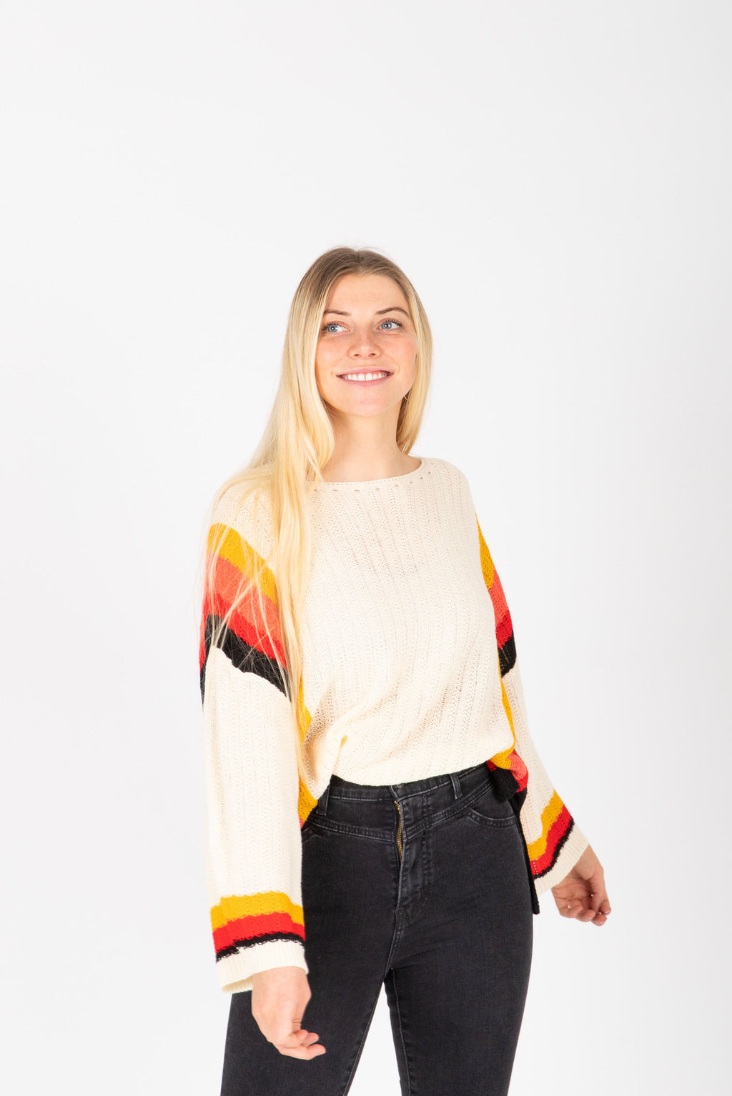 The MacClaine Striped Knit Sweater in Cream, studio shoot; front view