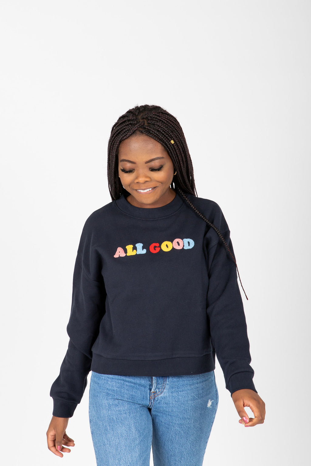 Levi's: Diana Crewneck Sweatshirt in All Good, studio shoot; front view