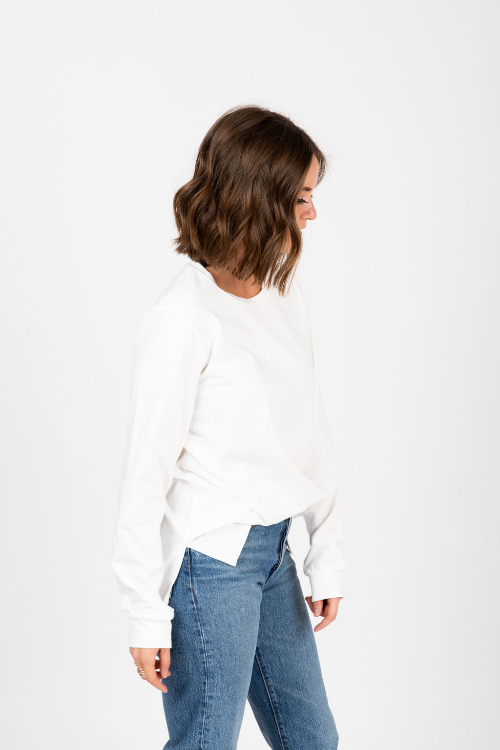 Piper & Scoot: The Crew Long Sleeve in Ivory, studio shoot; side view