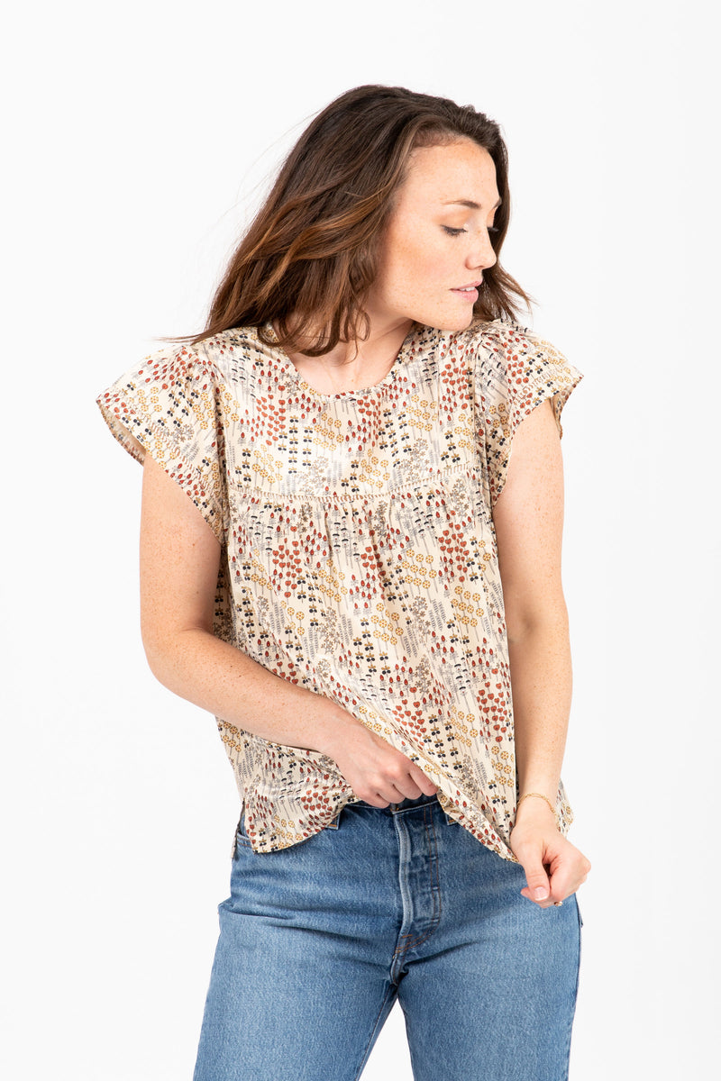 The Island Floral Ruffle Blouse in Taupe