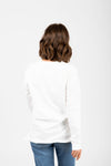 Piper & Scoot: The Crew Long Sleeve in Ivory, studio shoot; back view