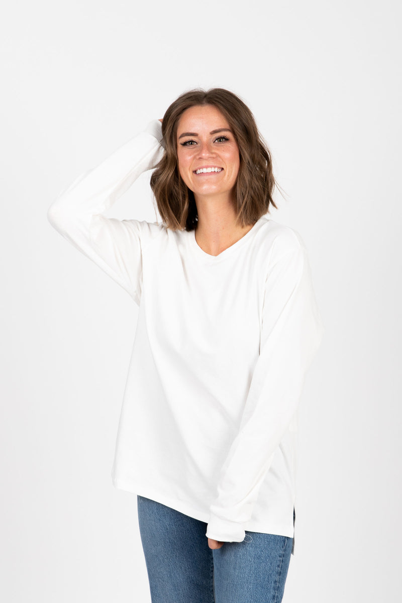 Piper & Scoot: The Crew Long Sleeve in Ivory, studio shoot; front view