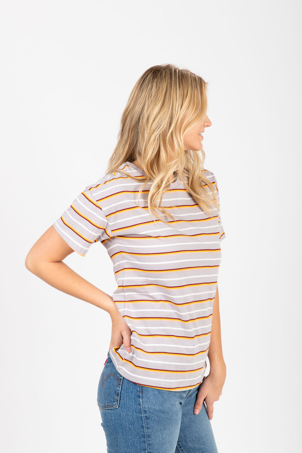 The Marysia Striped Tee in Grey Multi, studio shoot; side view