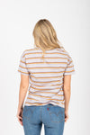 The Marysia Striped Tee in Grey Multi, studio shoot; back view