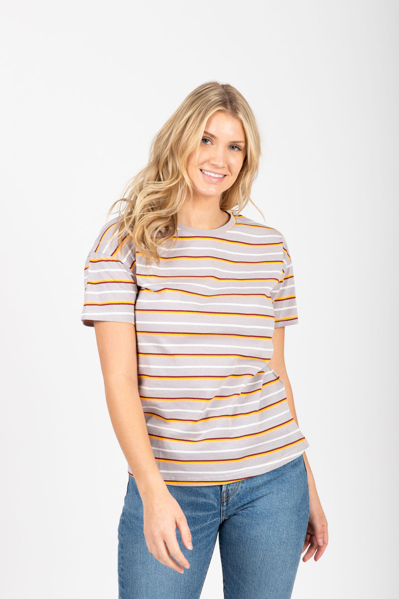 The Marysia Striped Tee in Grey Multi, studio shoot; front view