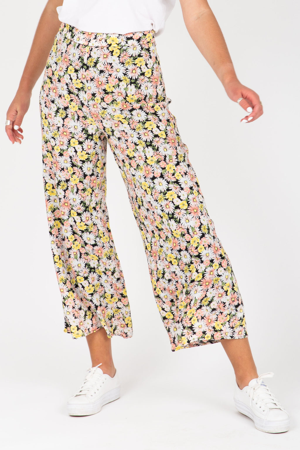 The Elisa Daisy Wide Leg Pants in Floral, studio shoot; front view