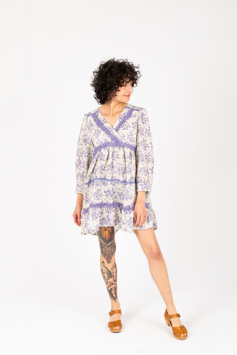 The Kian Floral Tiered Tunic in Lavender, studio shoot; front view