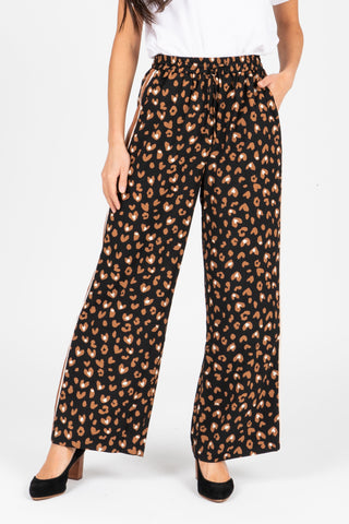 The Slay Tiny Heart Wide Leg Trouser in Black
