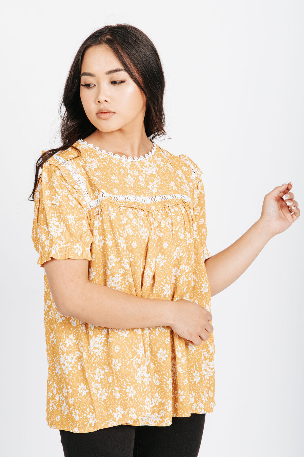 The Stuart Floral Blouse in Yellow