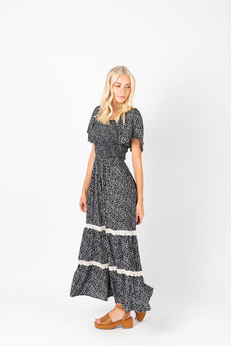 The Pippa Patterned Smocked Dress in Black