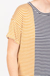The Ember Contrast Striped Dress in Navy + Mustard