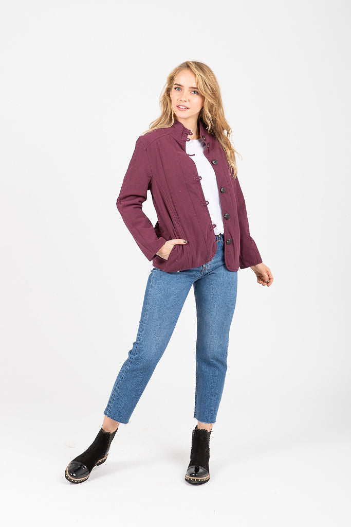 The Bosworth Button Jacket in Plum
