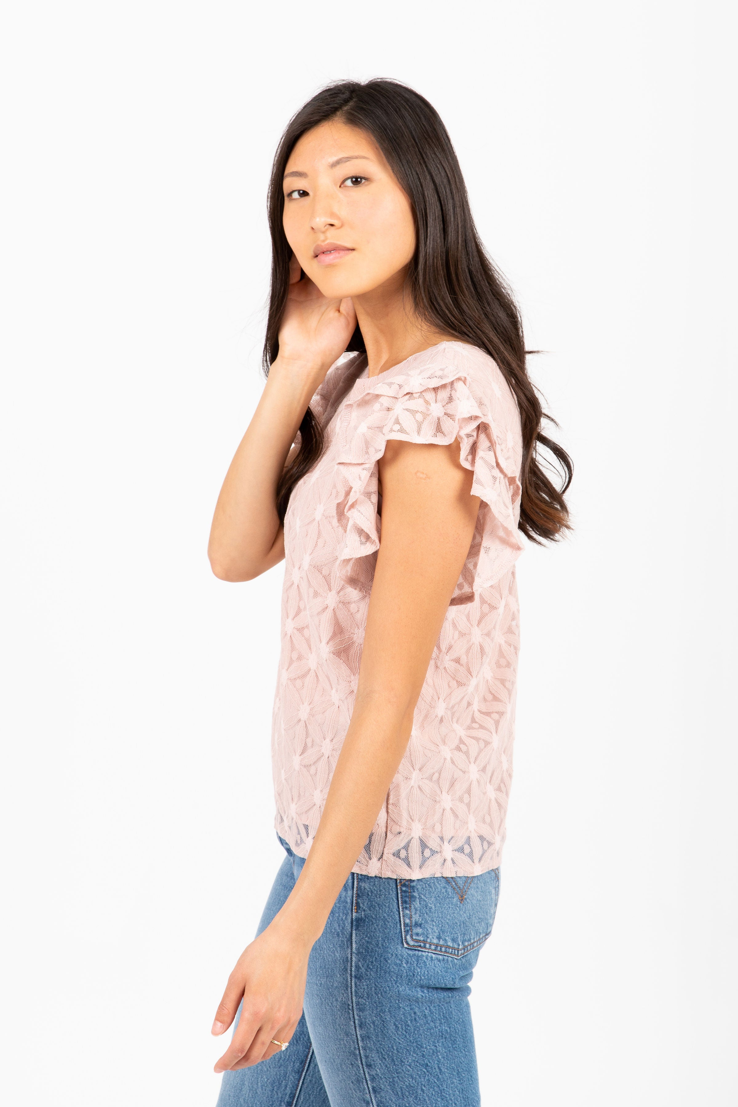 The Beach Floral Lace Detail Blouse in Blush