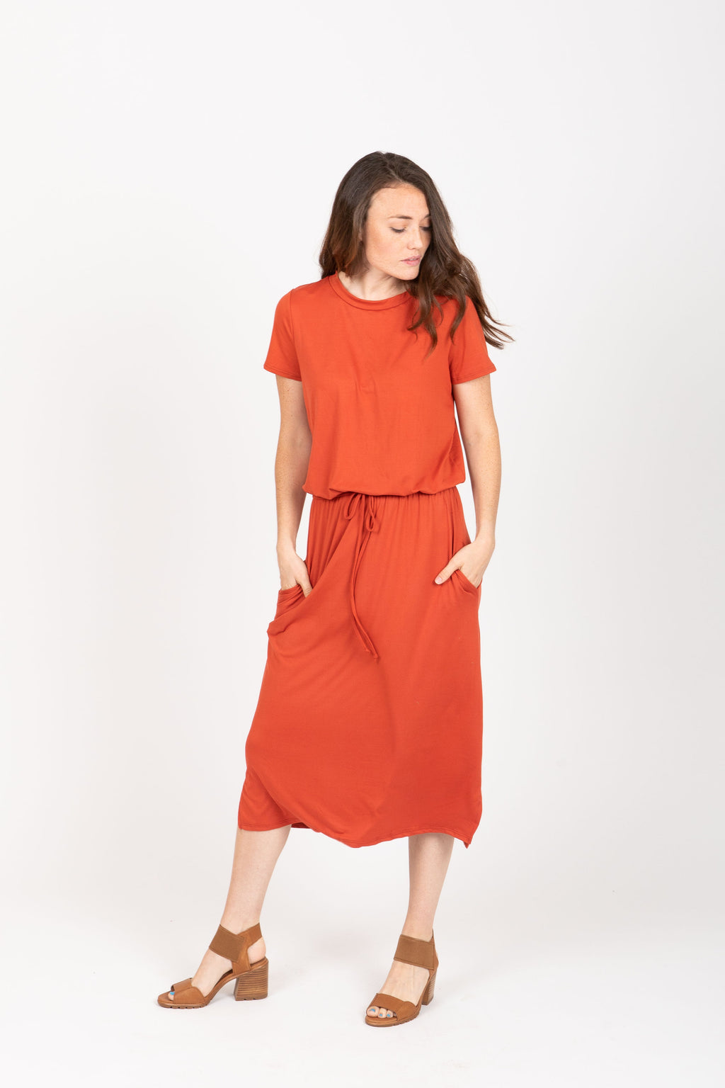 The Willow Casual Empire Dress in Brick