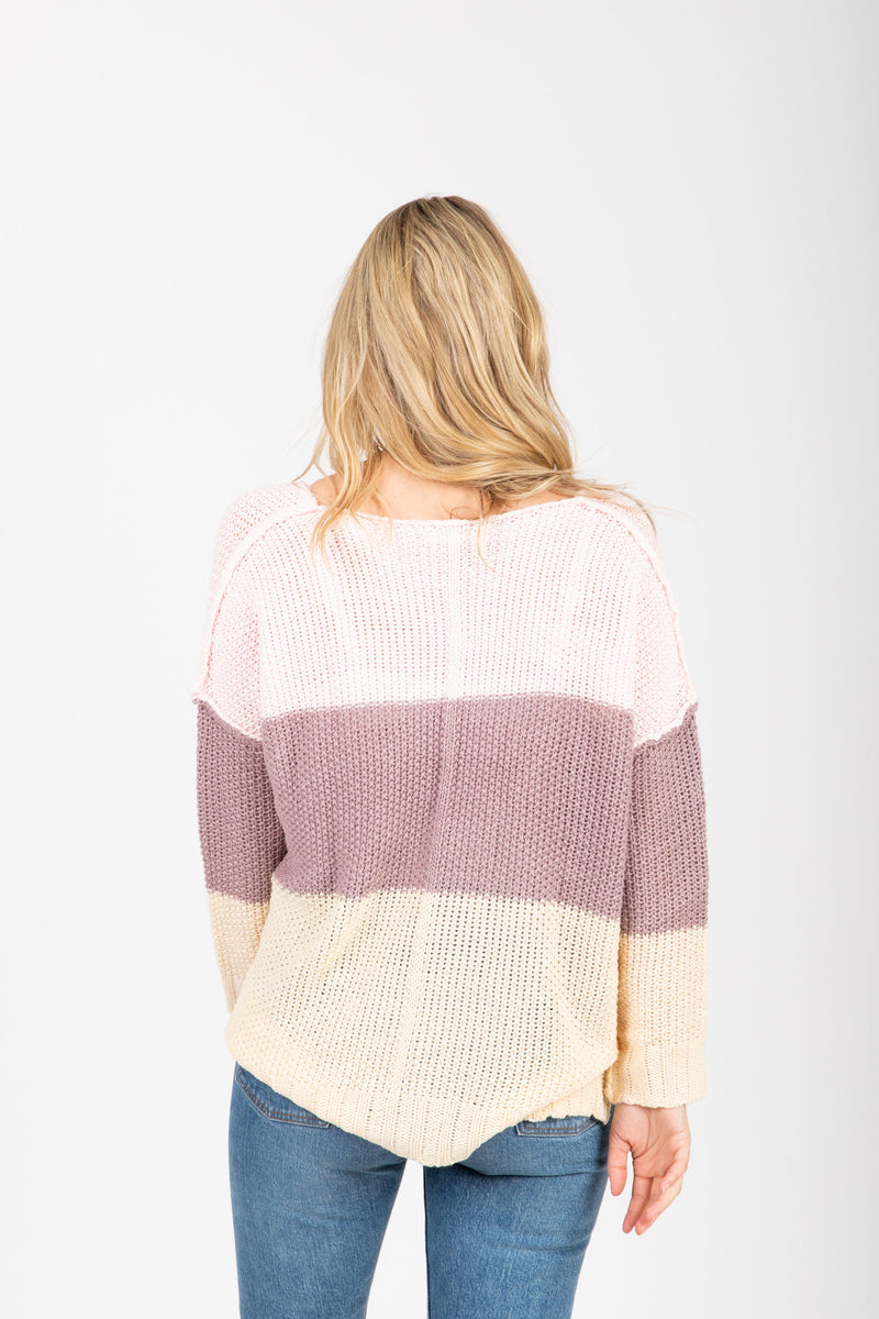 The Coley Knit Block Sweater in Lavender, studio shoot; back view