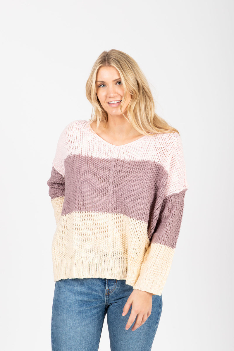 The Coley Knit Block Sweater in Lavender, studio shoot; front view