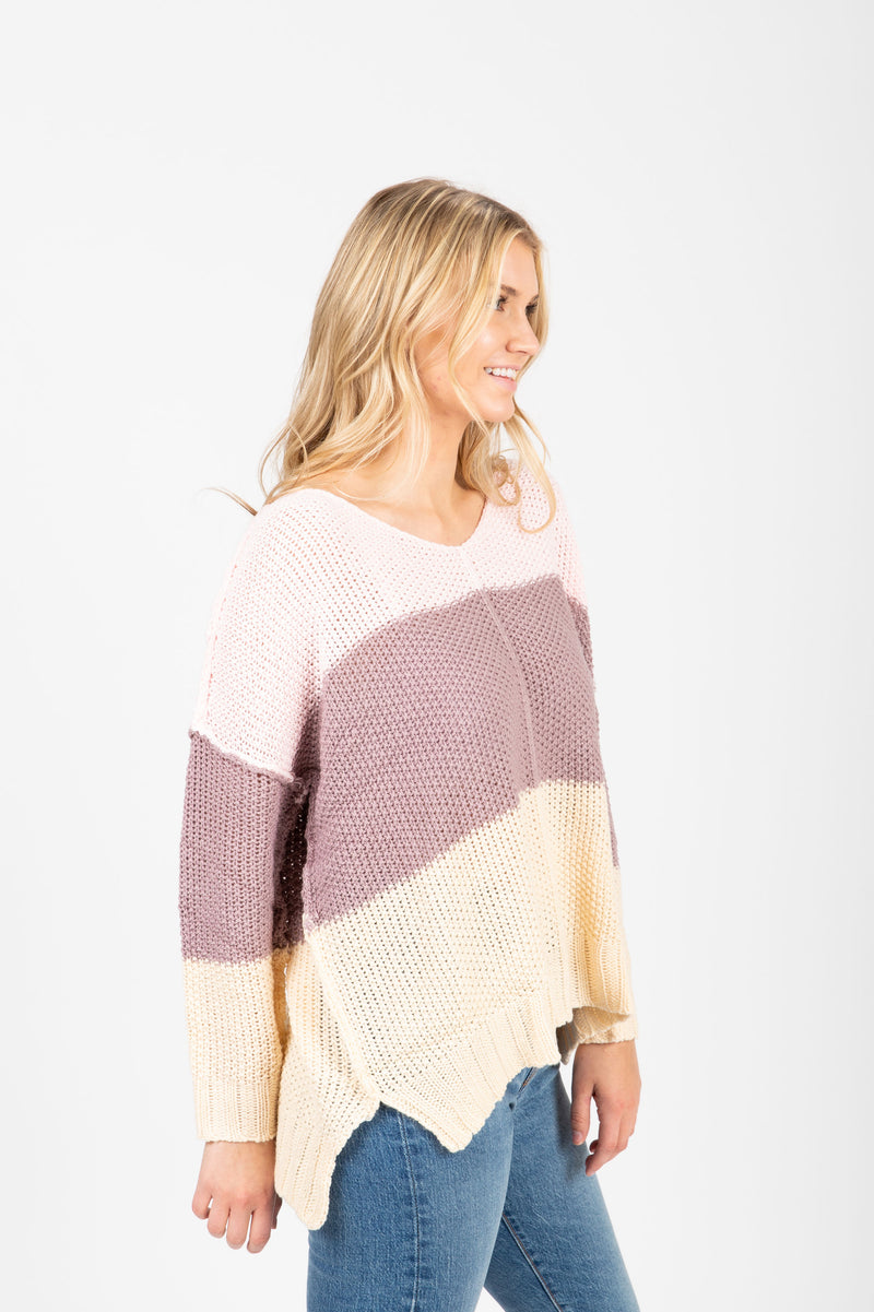 The Coley Knit Block Sweater in Lavender, studio shoot; side view